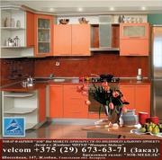 Кухня ДСП фасад Терра оранж кромка металлик